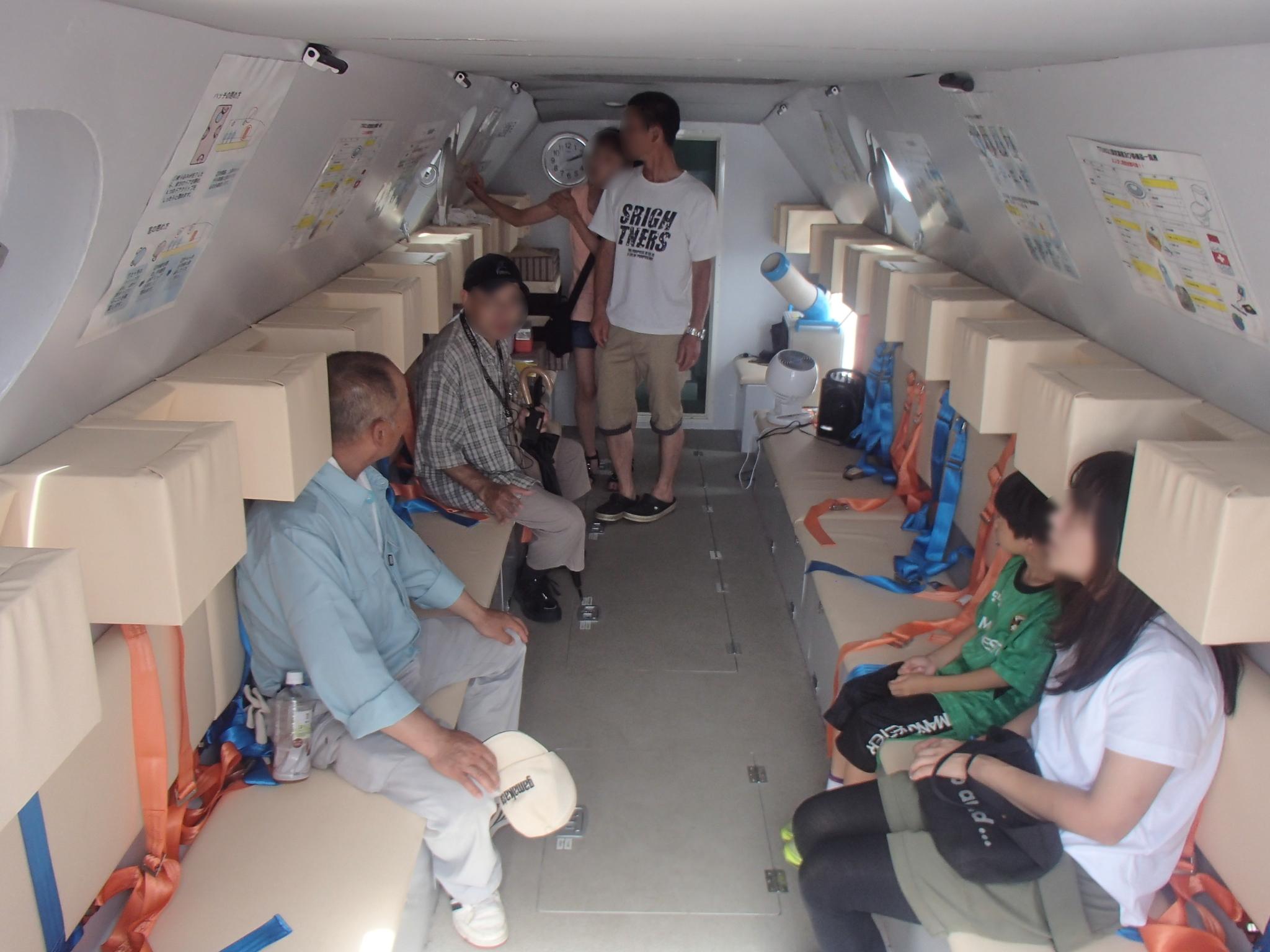 宮古市の三陸防災復興展示会で「津波シェルター」を体験